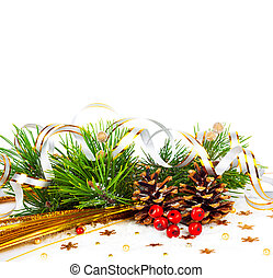 Christmas tree branch with gold serpentine and cones on...