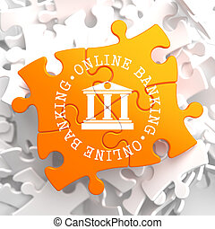 Online Banking Concept on Orange Puzzle - Online Banking on...