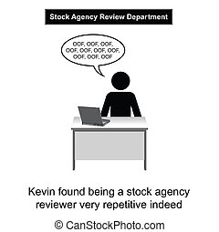 Stock Agency - Kevin got bored at work cartoon isolated on...