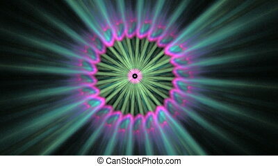 Pink Green Rotating Object, Seamless Loop Animated Fractal