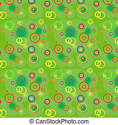 Bright green background with color spots, circles and rings...