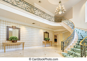 Hallway and stairway in rich house