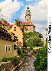 Cesky Krumlov Krumau, View on Castle Tower, UNESCO World...