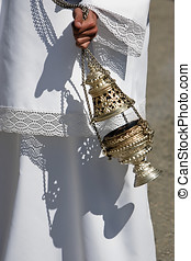 Censer of silver or alpaca to burn incense in the holy week,...