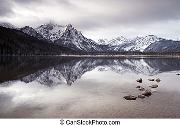Sawtooth Mountain Lake Deep Winter Landscape Idaho National...