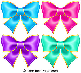 Bright holiday bows with gold border