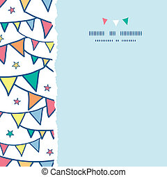 Colorful doodle bunting flags square torn seamless pattern...