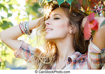 serenity - beautiful young woman with eyes closed feeling...