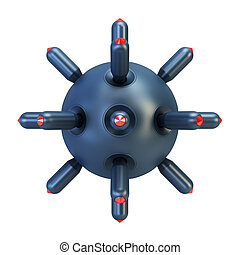 anti-submarine bomb 3d rendering