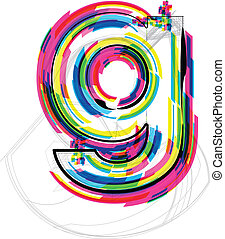 font Illustration LETTER g Vector illustration