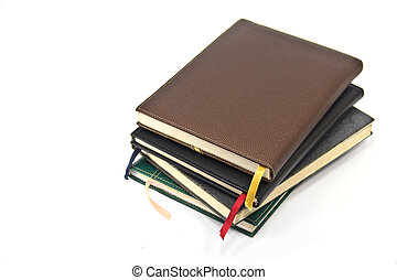 old diary on white background