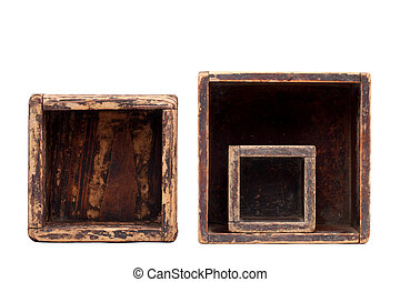 old wooden box - empty old wooden box isolated on white...