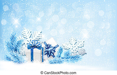 Christmas blue background with gift boxes and snowflakes....