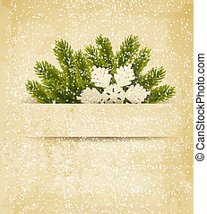Christmas retro background with tree branches and snowflake...