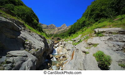 Waterfall at Pyrenees mountains