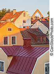 Rooftops of medieval town Visby - Rooftops of medieval tow...