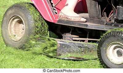 Lawn mower tractor effectively cutting off the tall grassess...