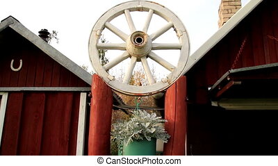 White wheel design on top of pedestal - White wheel that...