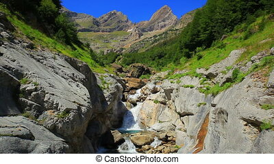 Waterfall at Pyrenees mountains - Waterfall at Pyrenees