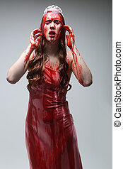 Scary Woman Dripping in Blood Wearing Prom Dress - Horror...