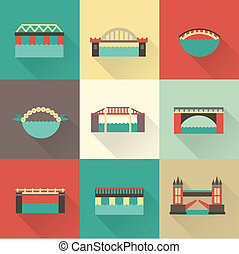Vector bridge icon set