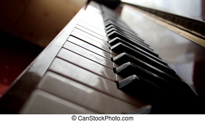 Closer view of the piano keys. An up-close view of the piano...