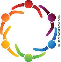 equipo, reunión, 6, logotipo