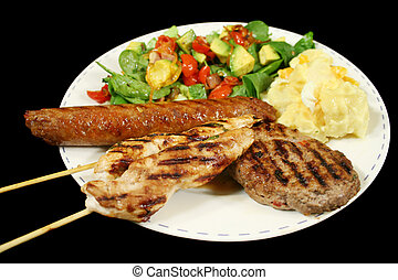BBQ Lunch - BBQ chicken tenderloin skewers, beef sausage,...