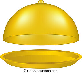 Open golden cloche - Open cloche in golden design on white...