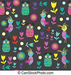 Vector cute seamless pattern with cartoon bird and flower...