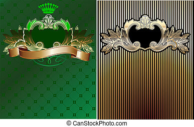 Green, Black And Gold Royal Ornate Backgrounds.