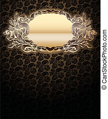 Vector Ornate Background With Glow Gold Medallion