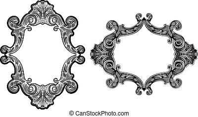 Two Black And White Baroque Art Frames