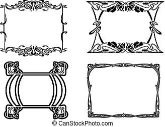 Set Of Four Elegance Baroque Black Frames