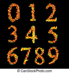 Red Yellow Vibrant Autumn Leaves Font Numbers