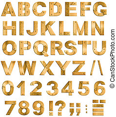 Golden or brass metal alphabet letters, digits and...