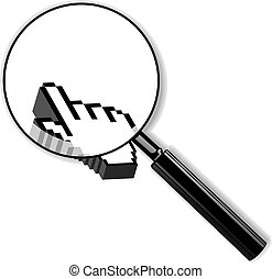 Zoom Lens And 3d Palm Cursor. Vector Illustration.