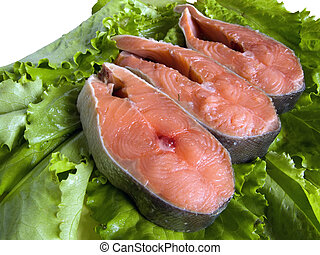 freshness red fish on Green leave from kitchen