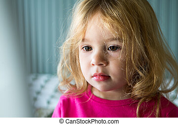 Young Toddler Girl Looking at Computer Monitor - Young...