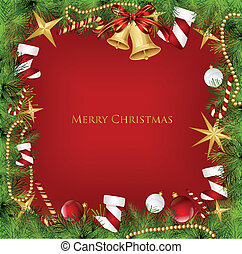 Christmas Frame With Holly Decoration. Vector