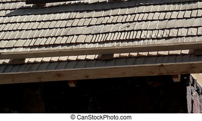 Cedar wooden shingles shakes roof roofing roofworking...