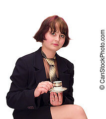 young woman with tea cap