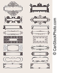 Set Of Vector Frames Ornament Elements In Antique Style.