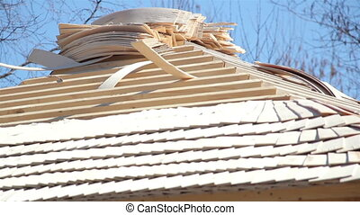 Cedar wooden shingles roof roofing roofwork carpenty roofer...