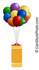 Colorful balloons with banner