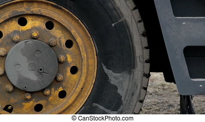 Big truck wheel tires of a construction equipment - Big...