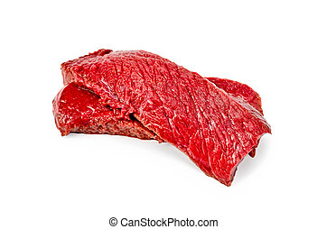 Meat beef slices - Two slices of beef isolated on white...