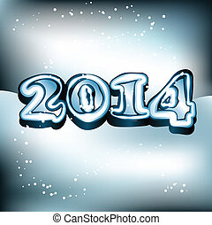 Vector Illustration Of 2014 text on snowy background