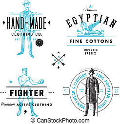 Vector Vintage Clothing Label and Badge Set - Easy to edit...