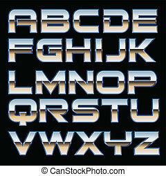 Vector metal font - Vector set of metallic characters